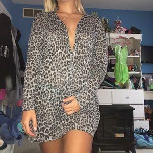 Grey cheetah print cardigan
